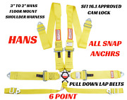 Snap In 6 Point Racing Harness Hans Shoulders Sfi 16.1 Yellow