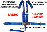Pull Up Lap Belts 5 Point Sfi Race Harness Snap In Tapered Hans Shoulders Blue