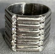 18k White Gold Diamond Industrial Hexagon X-wide Ribbed Vintage Band Ring Sz 7.5