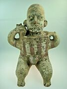 Authentic Pre-columbian Jalisco Pottery Seated Male Warrior Figure 200bc-200ad