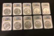 2013-w Am. Silver Eagle 1 West Point Ngc Ms70 10 Coins From Mint Sealed Boxes