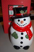 Snowman Cookie Jar With Sound Musical Amc, Nyny Vintage New In Box