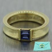 1997 And Co. 18k Yellow Gold 0.20ctw Baguette Cut Sapphire Band Ring