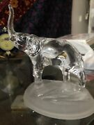 Cristal D'arques 24 Lead Crystal Clear Elephant On Frosted Base France Vgc