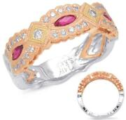 Wide .63ct Diamond And Aaa Ruby 14k Tri Color Gold Marquise Shape Anniversary Ring