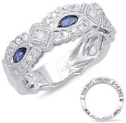 Wide .71ct Diamond And Aaa Sapphire 14kt White Gold 3d Filigree Anniversary Ring