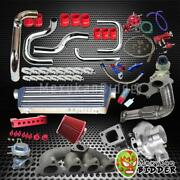 Dc2 B16 B18 T3/t4 Turbocharger Downpipe Chrome Intercooler Pipes Red Coupler Kit