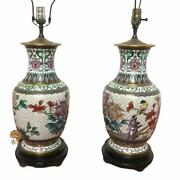 Antique Chinese Pair Of Table Lamp Bronze Closionne Vase Flowers W/ Bird Design