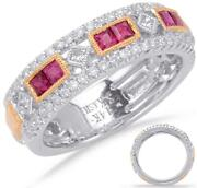 Wide .77ct Diamond And Aaa Ruby 14k White And Rose Gold 3d Filigree Anniversary Ring
