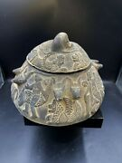 Antiquities Engraved Carved Near Eastern Figures Bowl Ancient Persian Sasanian