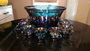 Rare Antique Blue Glass Rainbow Iridescent Punch Bowl And 12 Cups