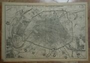 Paris And Surrounds 1863 By B.r. Davies Very Large Antique City Map 19th Century
