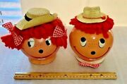 2 Vintage Royalty Industries Raggedy Ann And Andy Plastic Banks