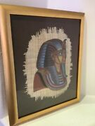 Vintage Rare Framed Egyptian Hand Painted Papyrus King Tut Collectible Art.