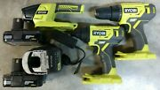 Ryobi 18v One+ Drill Impact Driver And Led Light Kit W/ 2 Battery And Charger