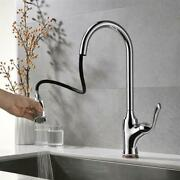 New Kitchen Sink Faucet Pull-downcoppersilver Lead-free Kitchen Faucet Kjzy50