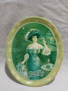 Rare Vintage Off Color Pepsi Cola Advertisement Oval Serving Tray Gibson Girl