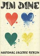Jim Dine Four Hearts Signed 30.75 X 22 Lithograph 1971 Pop Art Red Blue