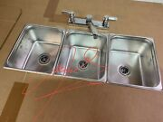 Large 3 Compartment Sink Set For Portable Concession Sinks Food Trucks