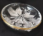 Vintage Mikasa Studio Nova Clear Crystal Frosted Poinsettia Nut Bowl Dish Floral