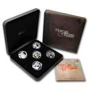 Tuvalu 2011 1 Heroes And Villains 5x 1 Oz Silver Proof Coin Set