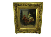 Oil Painting On Canvas Framed Three Tavern Courtiers Bar Signed Fr. Dumont
