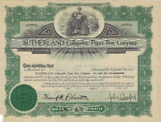 Pennsylvania 1922 Sutherland Collapsible Paper Boc Company Stock Certificate