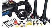 Conductorand039s Special 228h Train Horn Kit Black 4-chime 2 Gallon 150 Psi Tank/