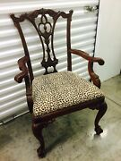 Sale - 8 Carved Chippendale Dining Chairs Ball Claw 2 Arm 6 Side Animal Print