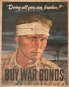 Original 1943 Wwii Poster Doing All You Can, Brother...buy War Bonds, Nice
