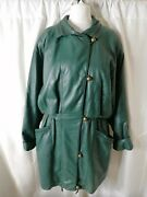 Vintage Green Water Free Leather Jacket Womenand039s Size 14 Button Front