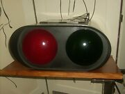 Vintage Simes Co. Cast Metal Railroad Double Signal Crossing Light Red Green