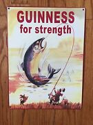 Guinness Stout Nitro Beer Brewery Dublin Ireland Fish Fishing Vintage Metal Sign