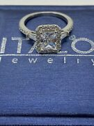 Italo Jewelry Womanand039s Halo Three Stone Sapphire Engagement Ring Size 8.75