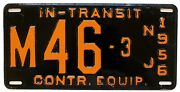 Vintage New Jersey 1956 Construction Equipment In Transit License Plate M 46-3