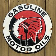 Vintage Mccoll Frontenac Porcelain Sign 18 Us Oil Gas Pump Petroliana Red Chief