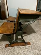 1920and039s Vintage American Seating Co. 4 Cast Iron Antique School Desk - 2 Avail.