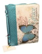 Bc Luxleather Grace Butterfly Teal Med.bible Carrier Eph.28 6 58w X 9 5/8 L