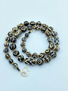 Ancient Pyu Dynasty Old Antique Black Etched Vintage Jewelry Trible Beads Mala