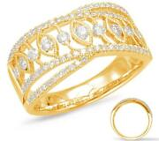 Wide .62ct Diamond 14kt Yellow Gold Round And Marquise Shape Criss Cross Love Ring