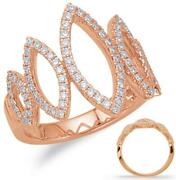 Large .56ct Diamond 14kt Rose Gold 3d Open Marquise Shape Graduating Love Ring
