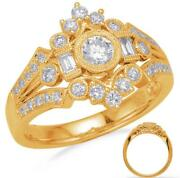 Wide .75ct Diamond 14kt Yellow Gold 3d Round And Baguette Open Filigree Crown Ring