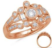 Wide .68ct Diamond 14kt Rose Gold 3d Round And Baguette Open Filigree Crown Ring