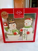 Lenox Holiday Snow Couple Snowman Salt And Pepper Shakers New In Box