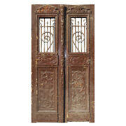 Salvaged Pair Of Antique 42andrdquo French Colonial Doors With Iron Inserts Ned1356