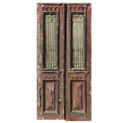 """Antique Pair Of 40"""" French Colonial Doors With Iron Inserts, Ned1355"""