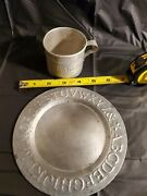 Antique Tin Childand039s And039abcand039 Alphabet Pressed 6andrdquo Plate And 2 1/4 Tin Cup