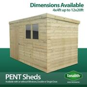 Total Sheds Pent Pressure Treated Tanalised Garden Wooden Shed Delivery Only