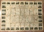 Paris 1851 By Danlos Decorative Wall Map In Colors Antique 19th Century