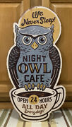 Night Owl Cafe Sign Kitchen Coffee Cup Vintage Style Wall Decor Drink Diner